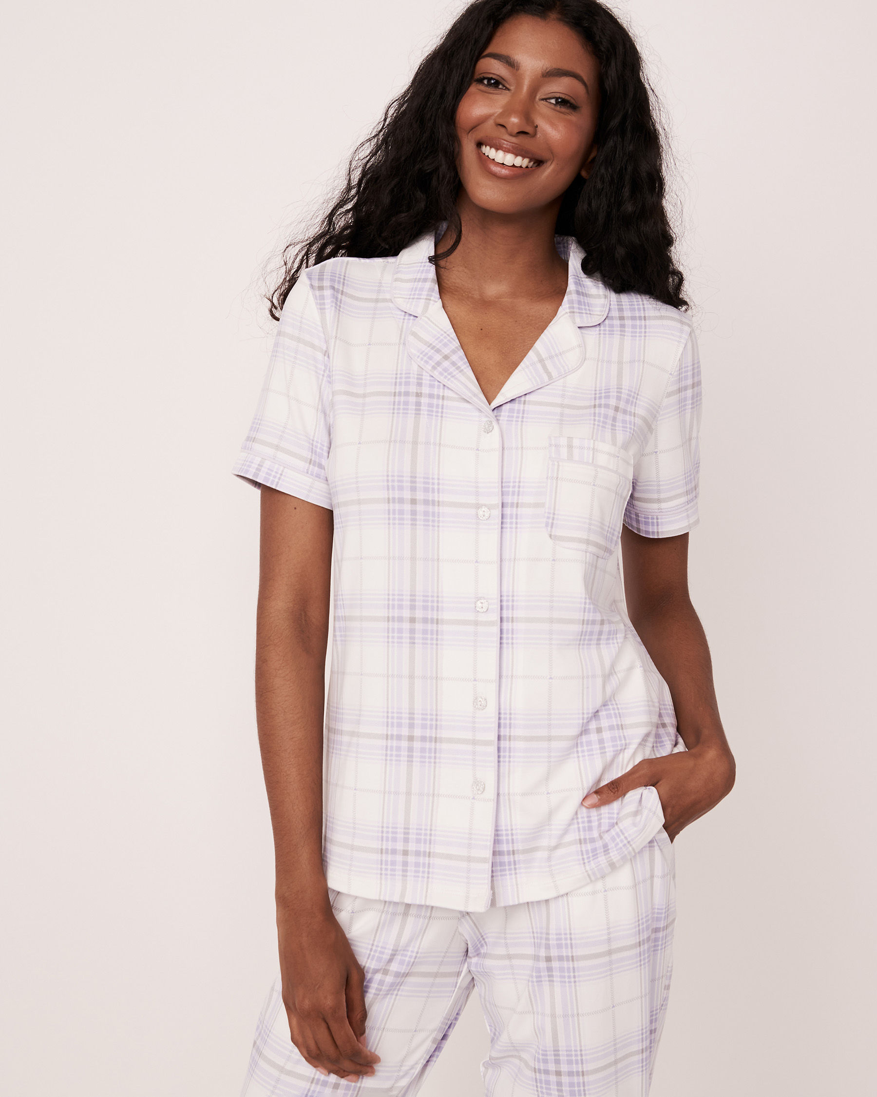 LA VIE EN ROSE Short Sleeve Shirt Plaid 40100147 - View1