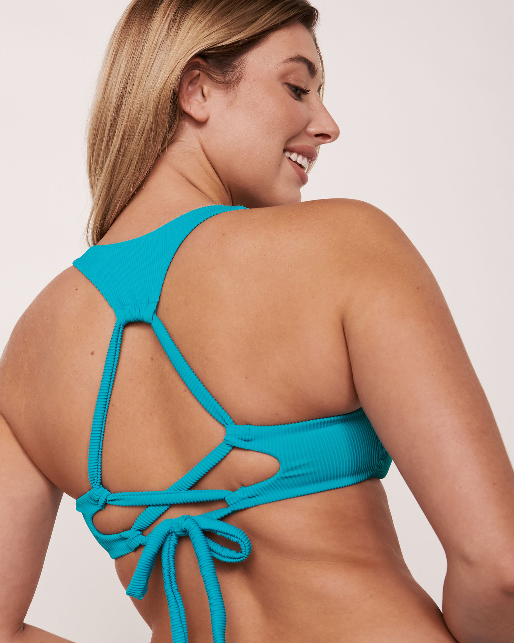 LA VIE EN ROSE AQUA Haut de bikini bralette en fibres recyclées TOOTSIE RIB Bleu 70100071 - Voir2