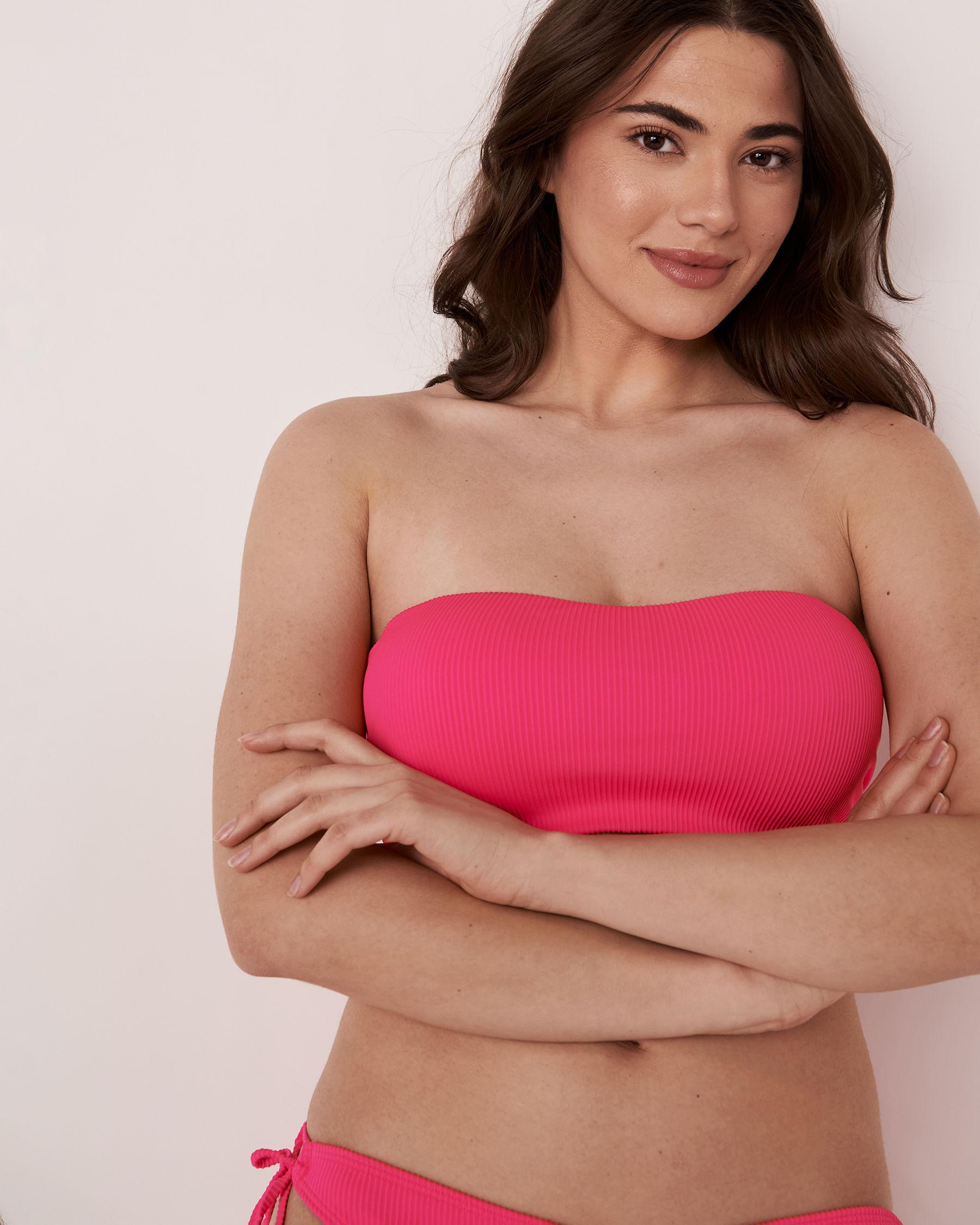 LA VIE EN ROSE AQUA TOOTSIE RIB Recycled Fibers D Cup Bandeau Bikini Top Neon pink 70200010 - View1