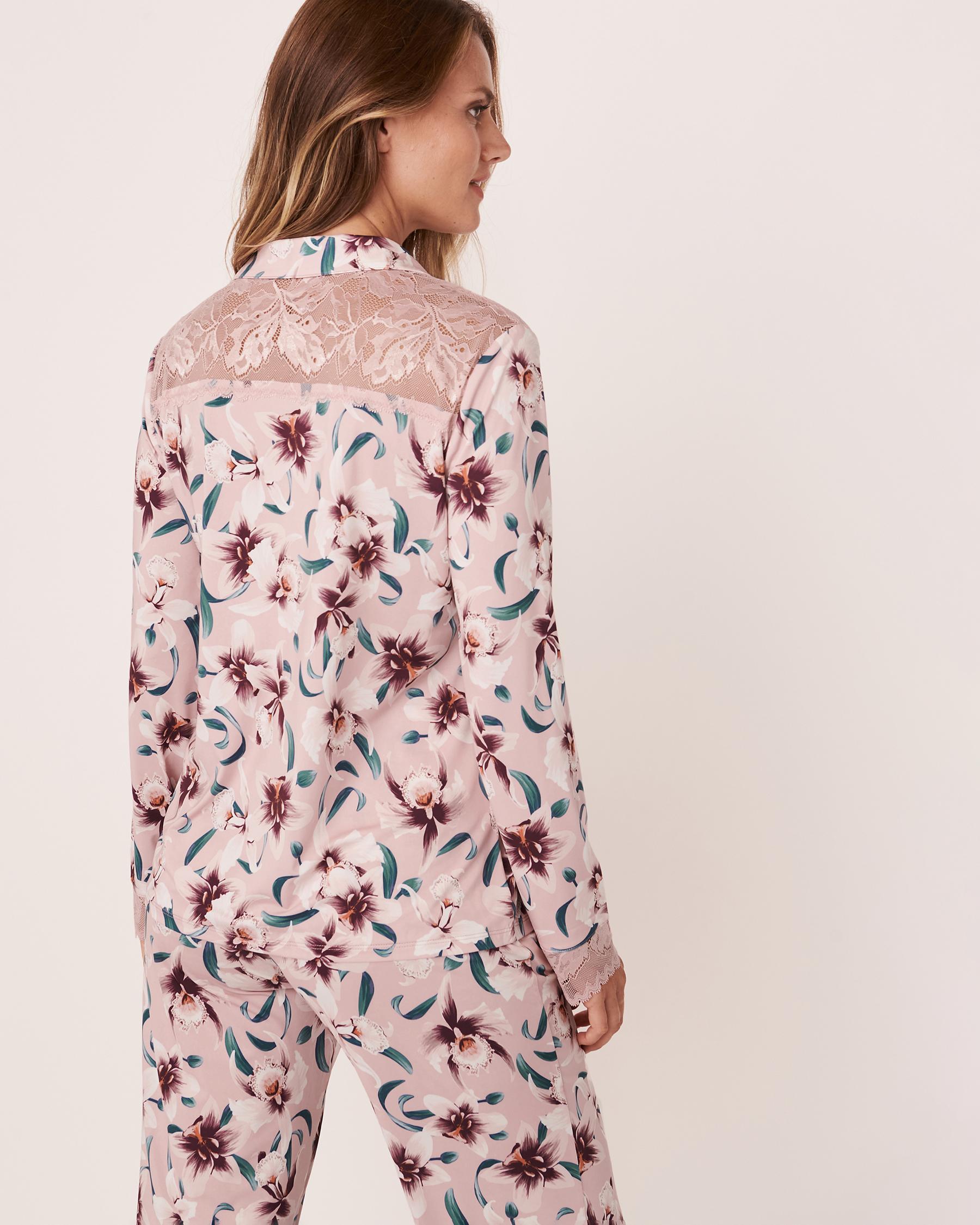 LA VIE EN ROSE Recycled Fibers Lace Trim Long Sleeve Shirt Orchids 60100004 - View2