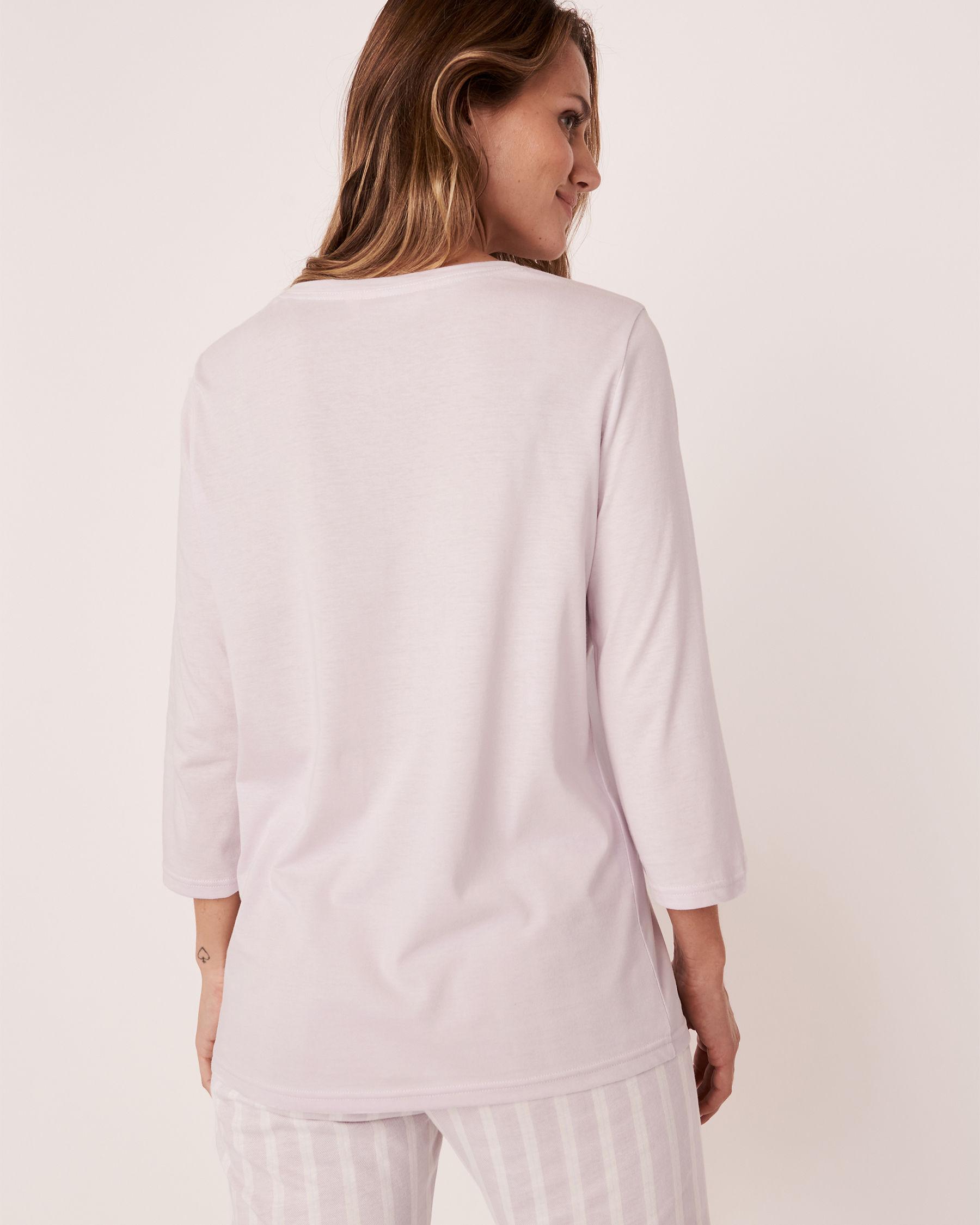LA VIE EN ROSE V-neckline 3/4 Sleeve Shirt Lavender 40100168 - View3