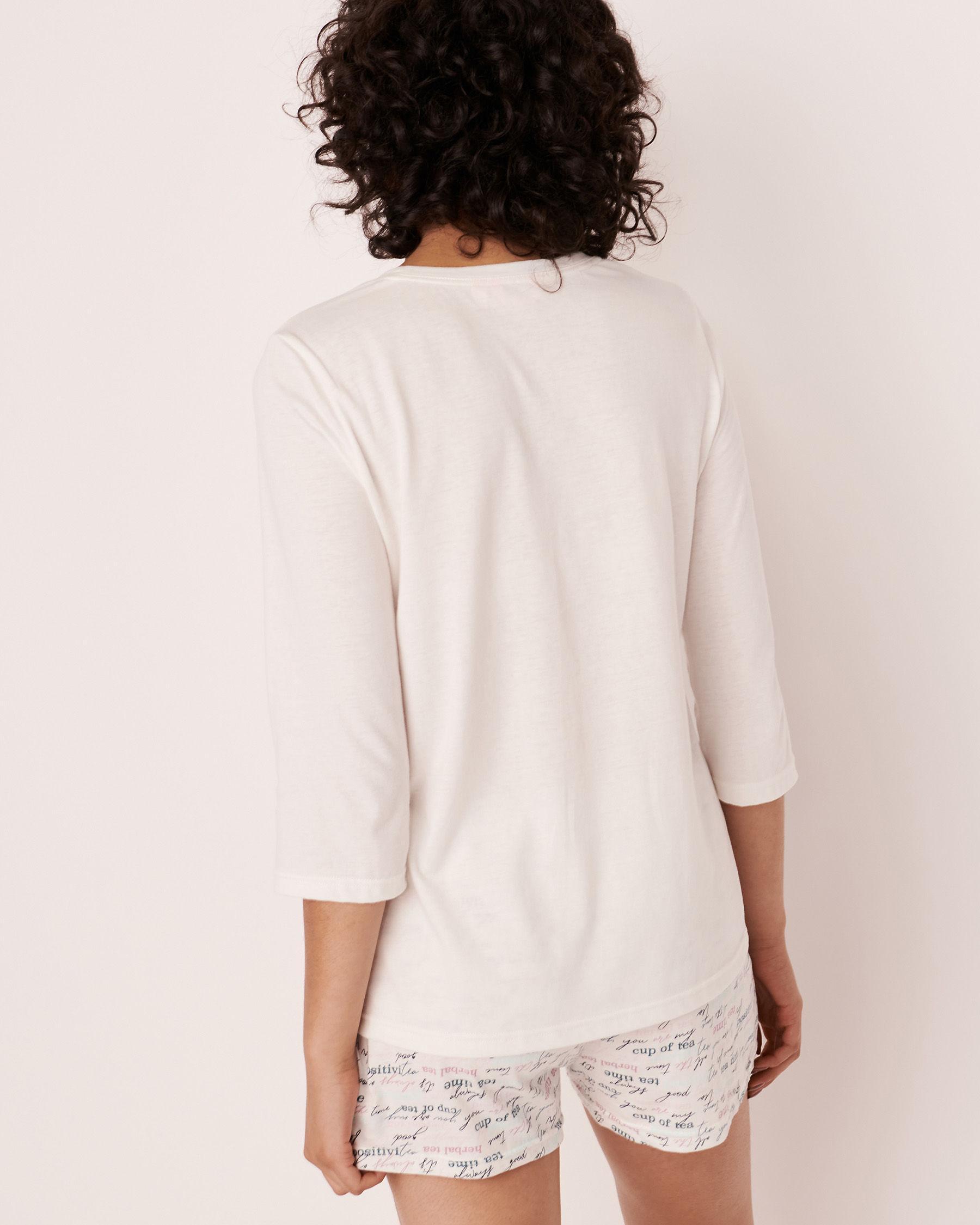 LA VIE EN ROSE V-neckline 3/4 Sleeve Shirt White 40100179 - View2