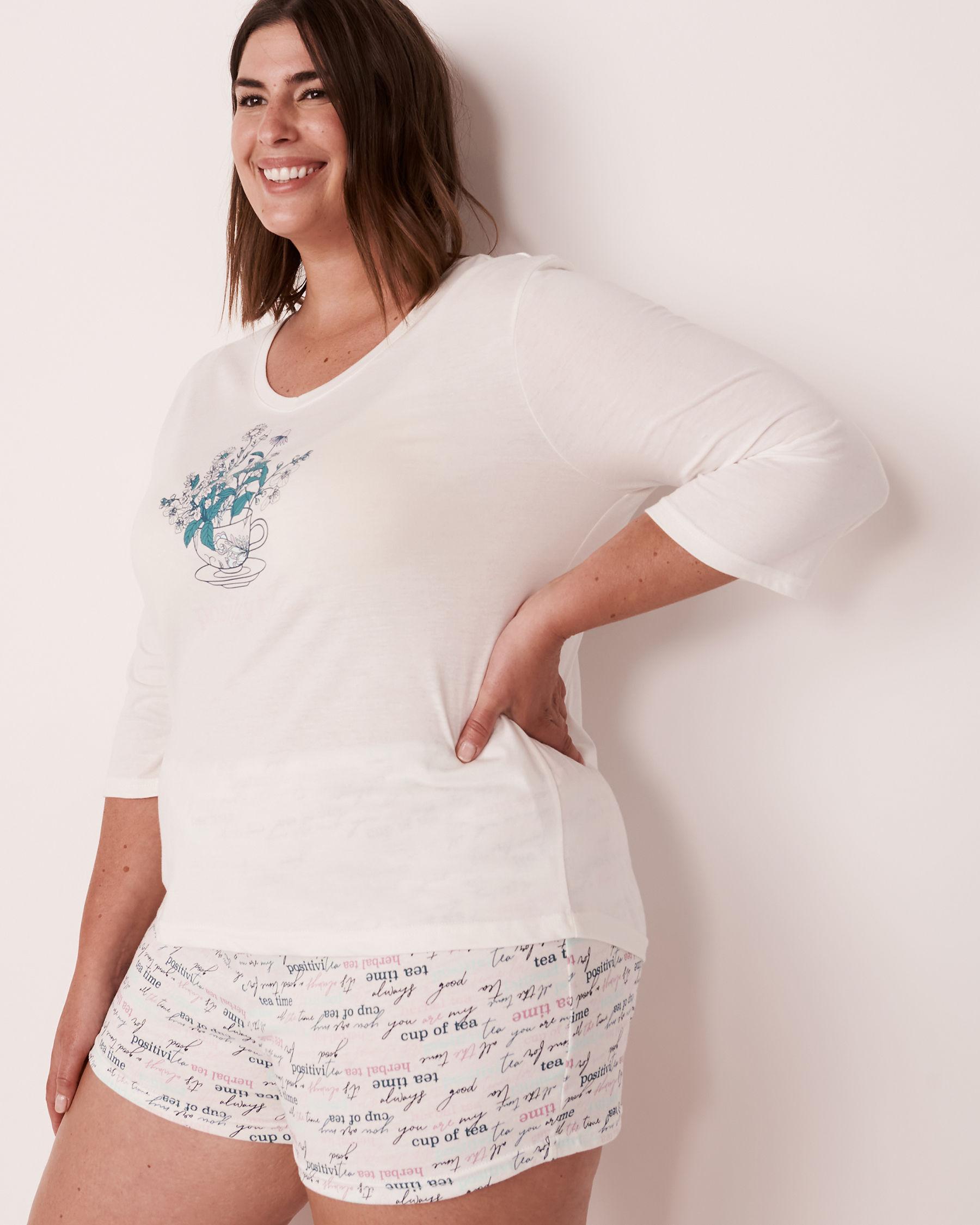 LA VIE EN ROSE V-neckline 3/4 Sleeve Shirt White 40100179 - View4