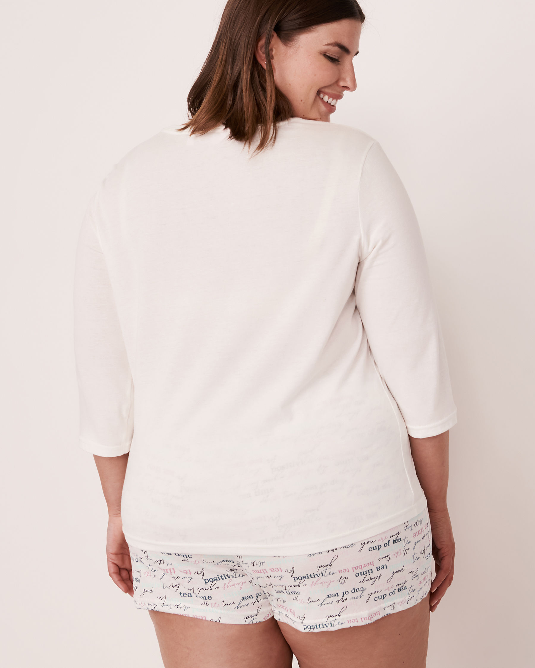 LA VIE EN ROSE V-neckline 3/4 Sleeve Shirt White 40100179 - View6