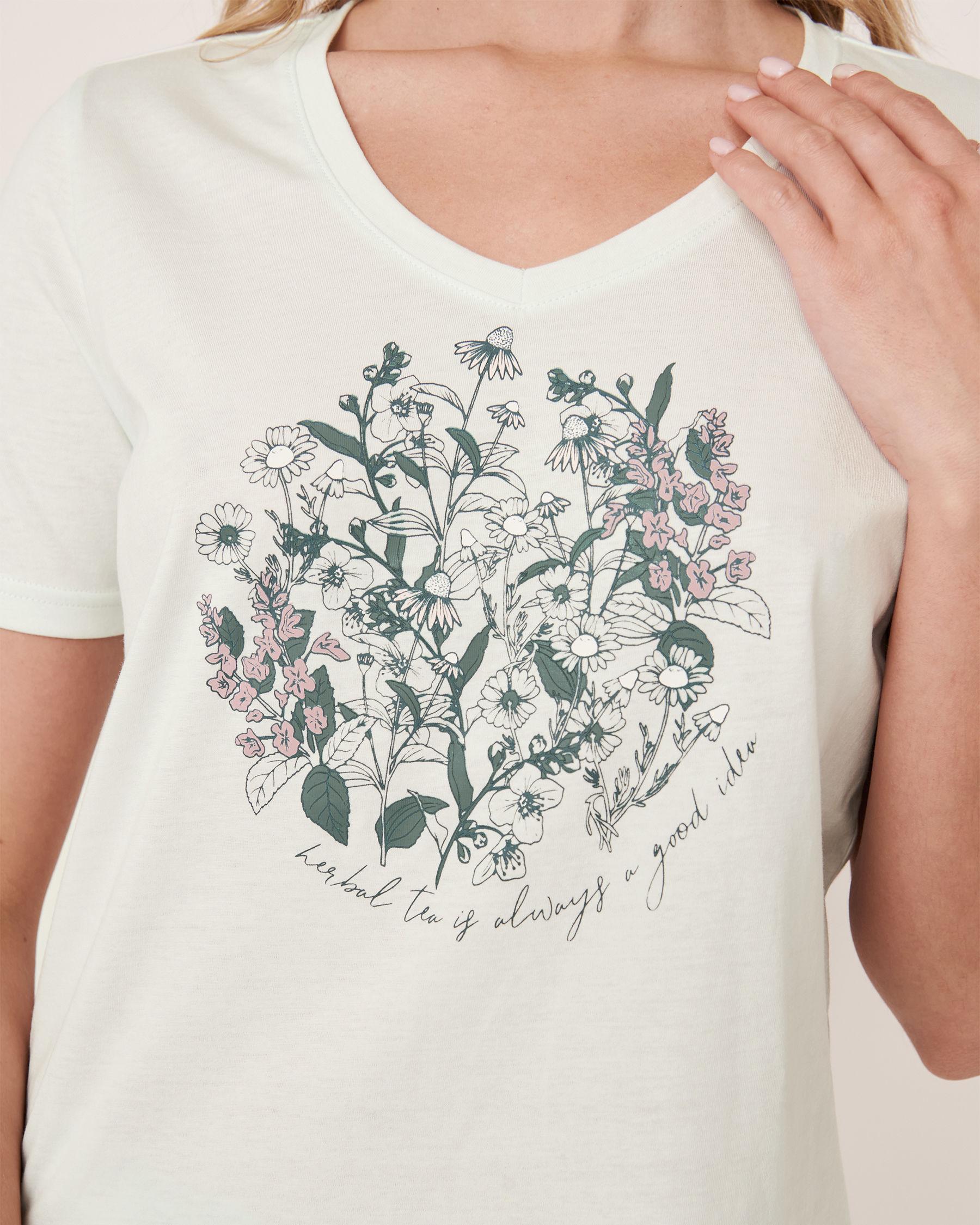 LA VIE EN ROSE V-neckline T-shirt Light aqua 40100180 - View1