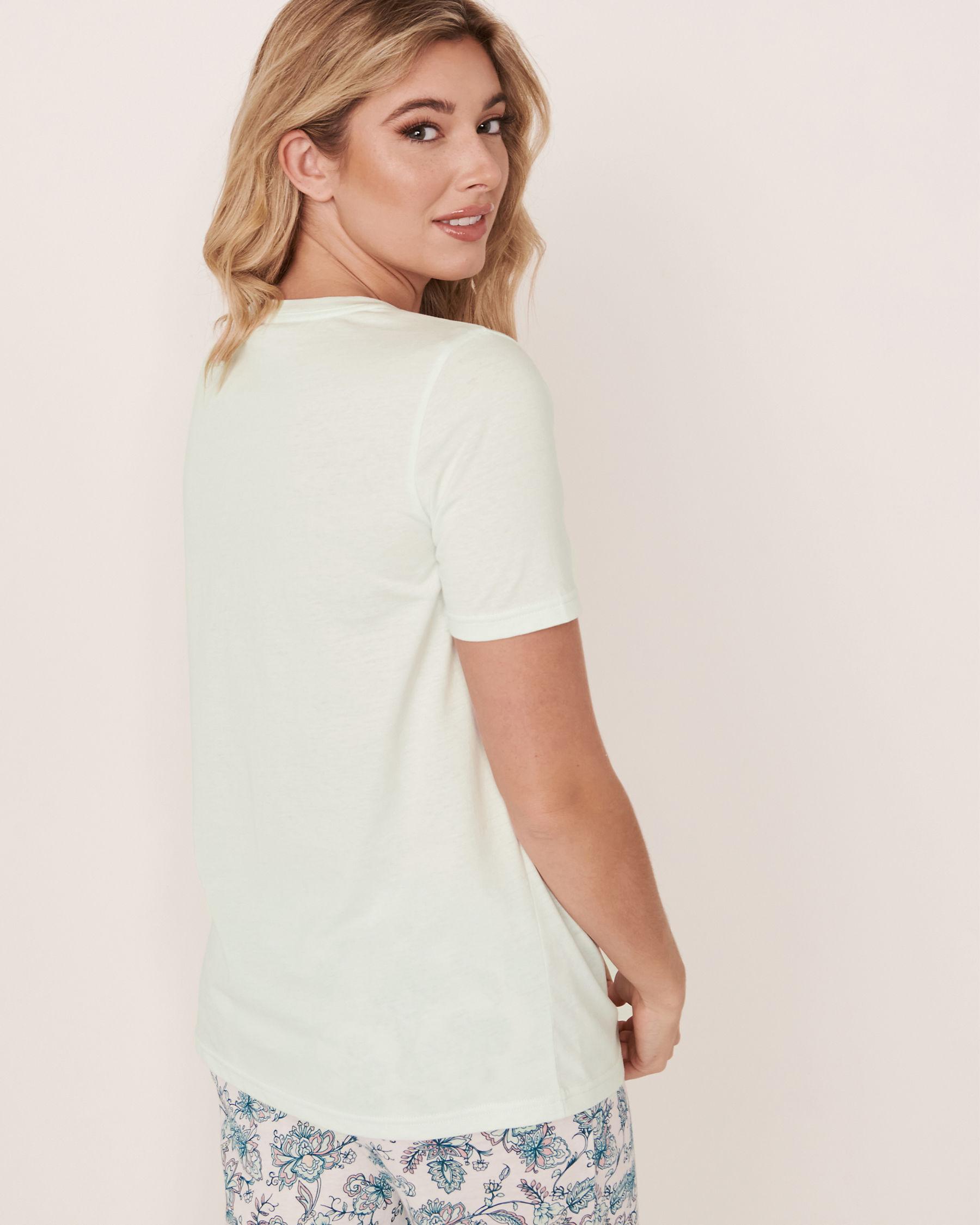 LA VIE EN ROSE V-neckline T-shirt Light aqua 40100180 - View2