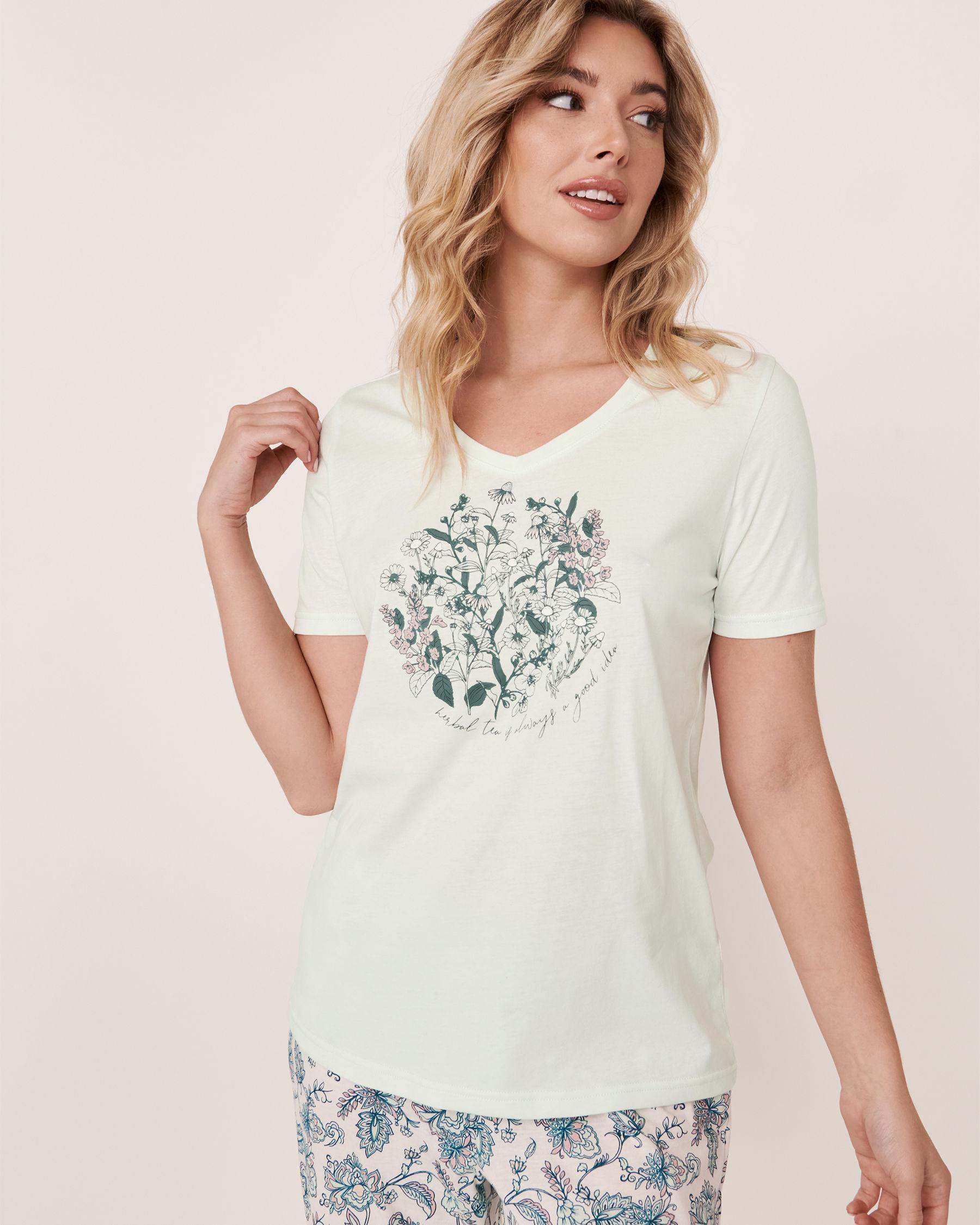 LA VIE EN ROSE V-neckline T-shirt Light aqua 40100180 - View3