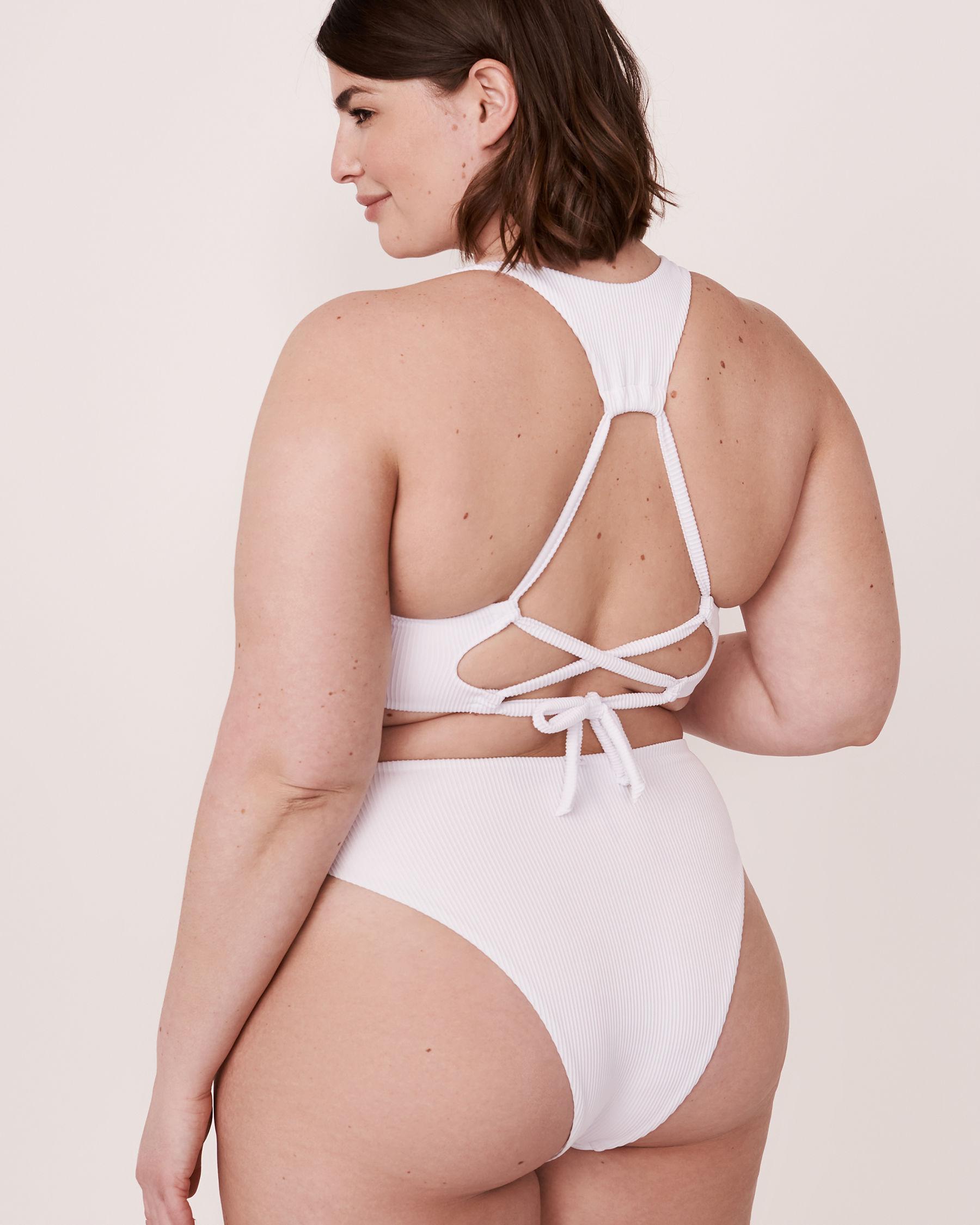 LA VIE EN ROSE AQUA Haut de bikini bralette en fibres recyclées WHITE RIB Blanc 70100095 - Voir2