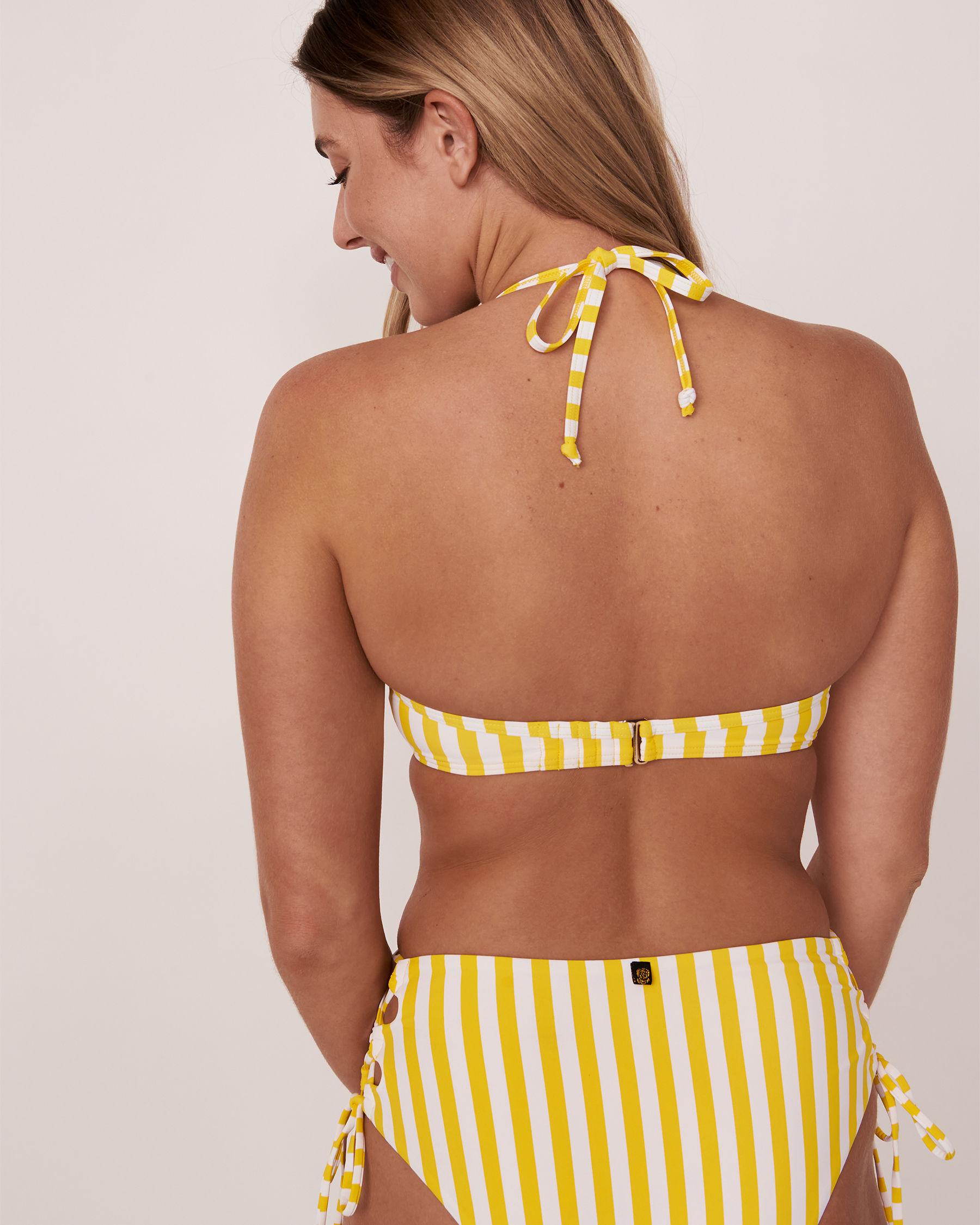 LA VIE EN ROSE AQUA Haut de bikini push-up en fibres recyclées YELLOW SUBMARINE Rayures jaunes et blanches 70100112 - Voir2