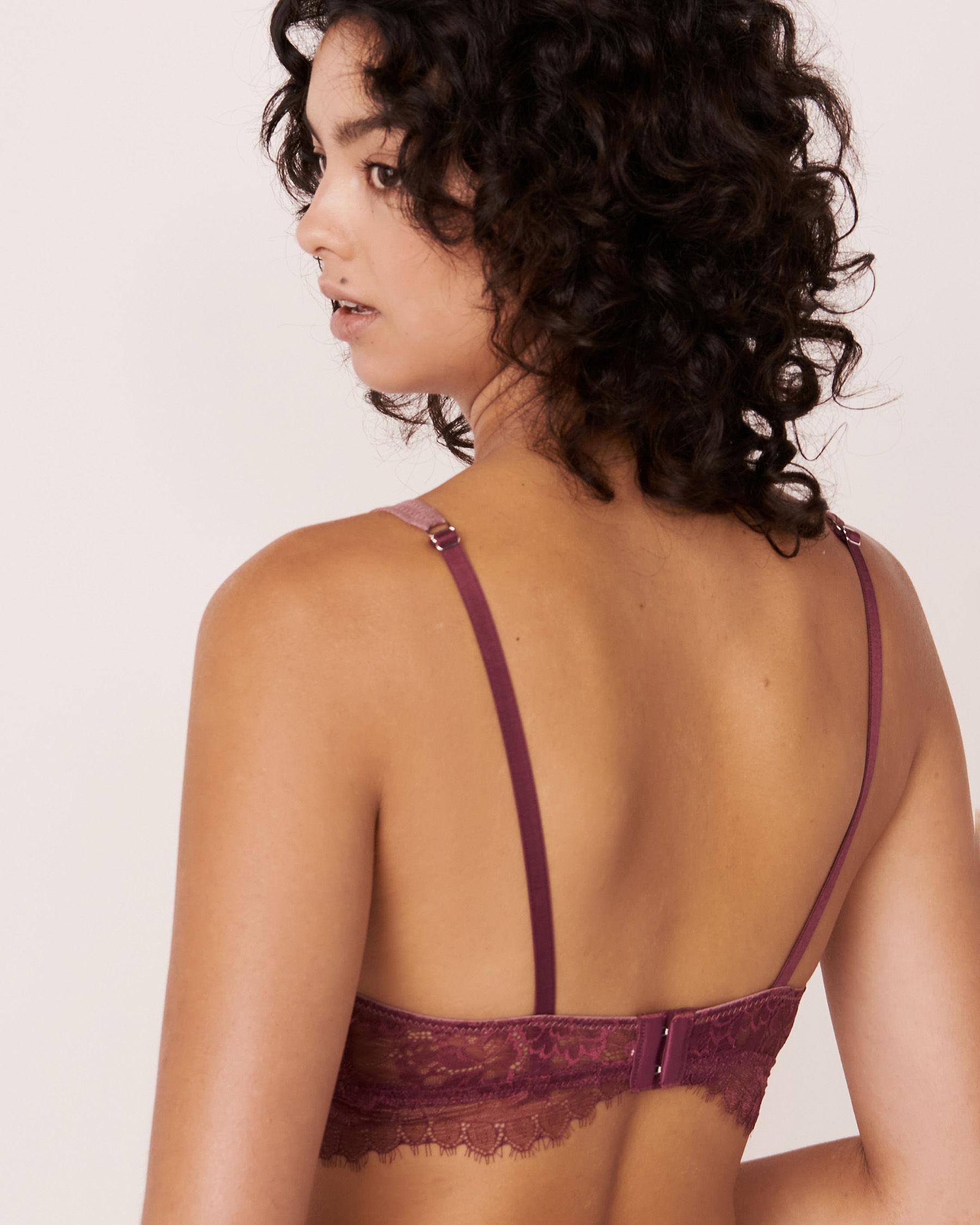 LA VIE EN ROSE Lace and Mesh Bralette Prune 10100030 - View2