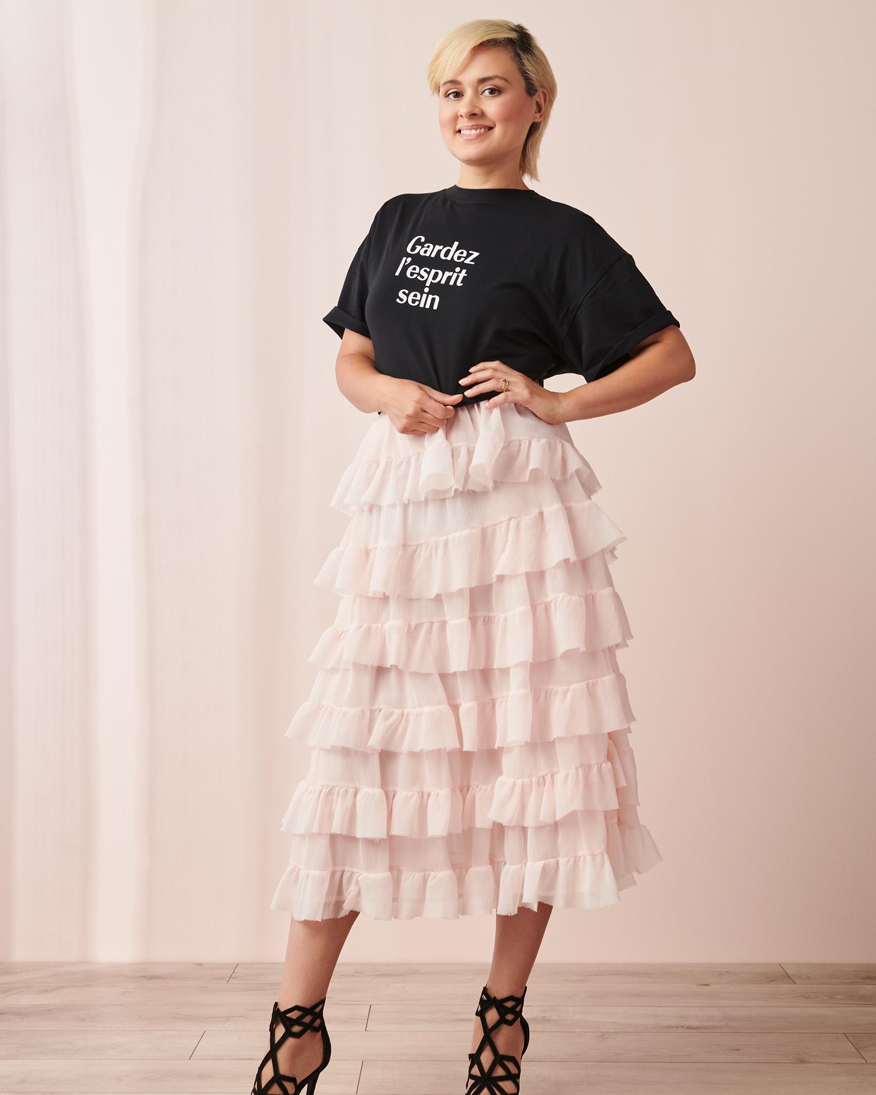 LA VIE EN ROSE T-shirt Gardez l'esprit sein Noir 90400001 - Voir5